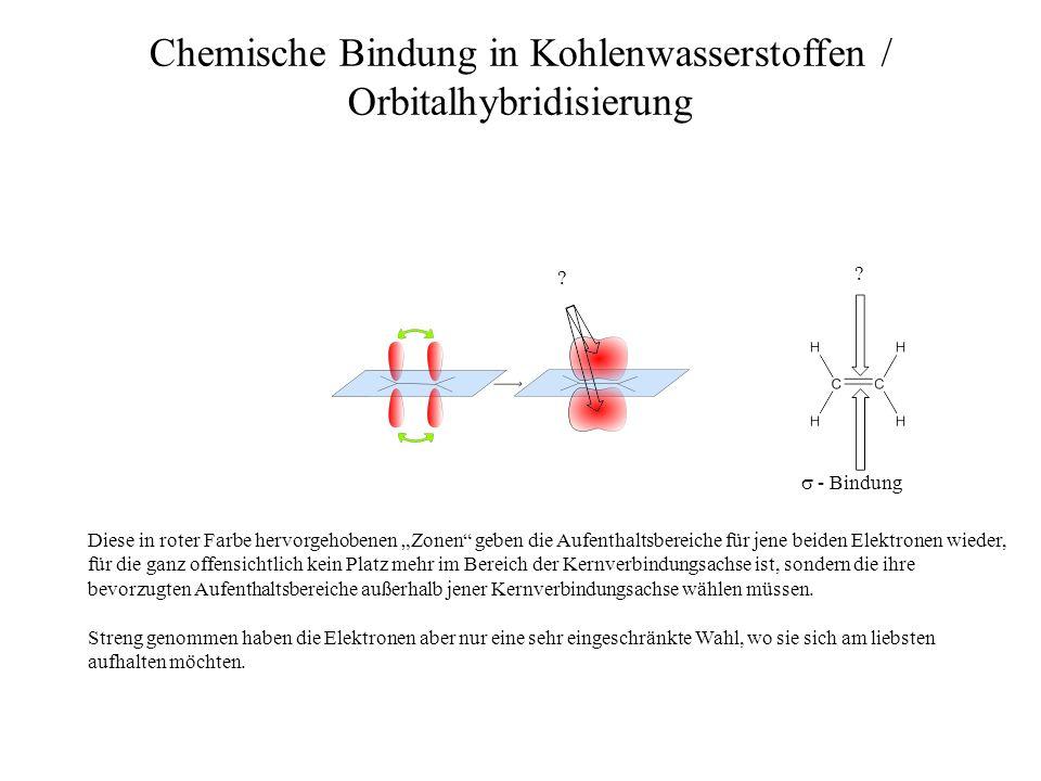 ? ? Chemische Bindung in Kohlenwasserstoffen / Orbitalhybridisierung - Bindung Diese in roter Farbe hervorgehobenen Zonen geben die Aufenthaltsbereich
