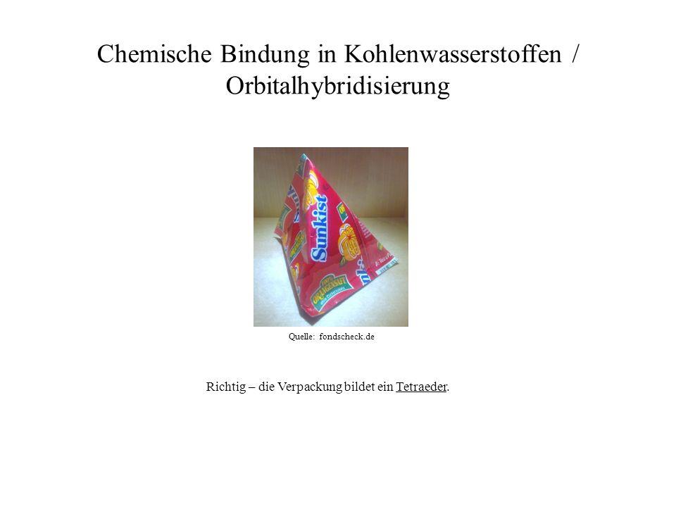Chemische Bindung in Kohlenwasserstoffen / Orbitalhybridisierung Quelle: fondscheck.de Richtig – die Verpackung bildet ein Tetraeder.