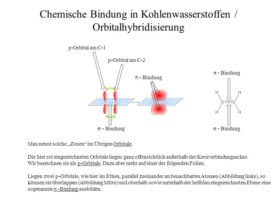 - Bindung - Bindung Chemische Bindung in Kohlenwasserstoffen / Orbitalhybridisierung - Bindung Man nennt solche Zonen im Übrigen Orbitale. Die hier ro
