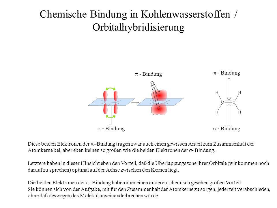 - Bindung - Bindung Chemische Bindung in Kohlenwasserstoffen / Orbitalhybridisierung - Bindung Diese beiden Elektronen der π –Bindung tragen zwar auch
