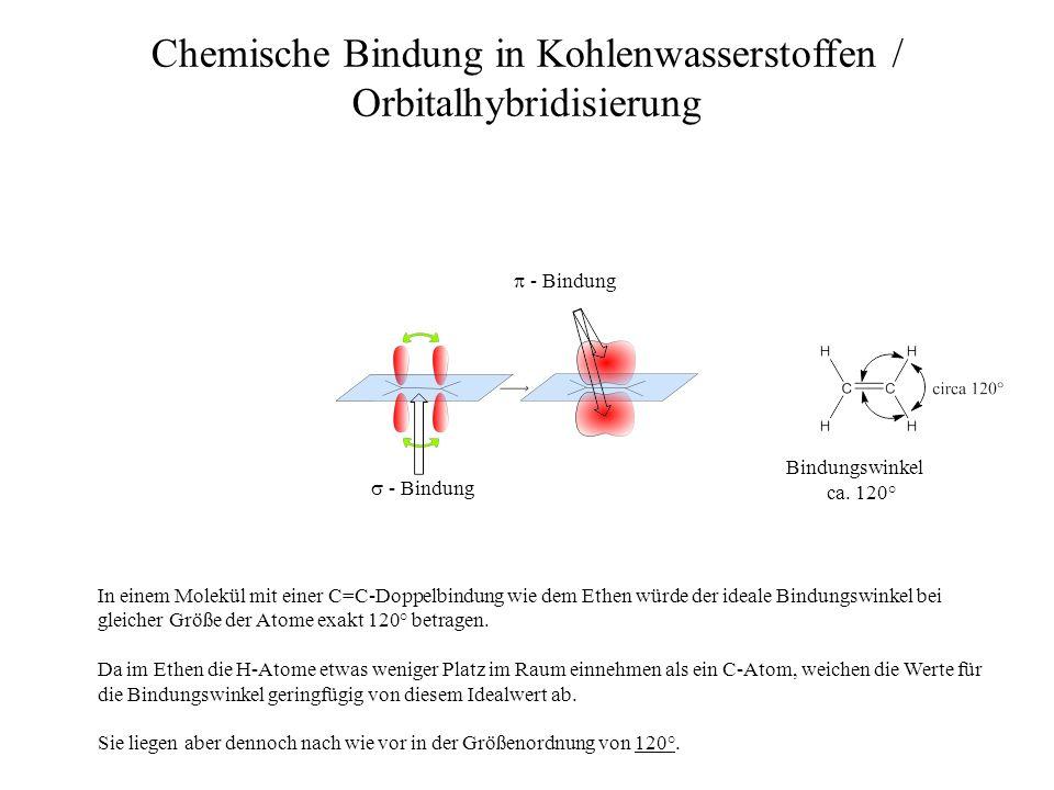 Bindungswinkel ca. 120° Chemische Bindung in Kohlenwasserstoffen / Orbitalhybridisierung - Bindung - Bindung In einem Molekül mit einer C=C-Doppelbind