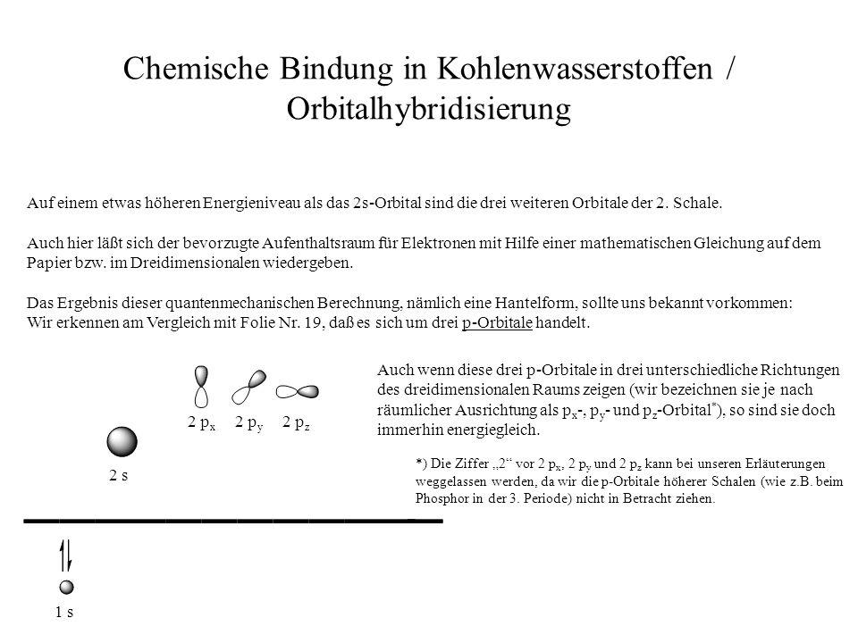 Chemische Bindung in Kohlenwasserstoffen / Orbitalhybridisierung Auf einem etwas höheren Energieniveau als das 2s-Orbital sind die drei weiteren Orbit