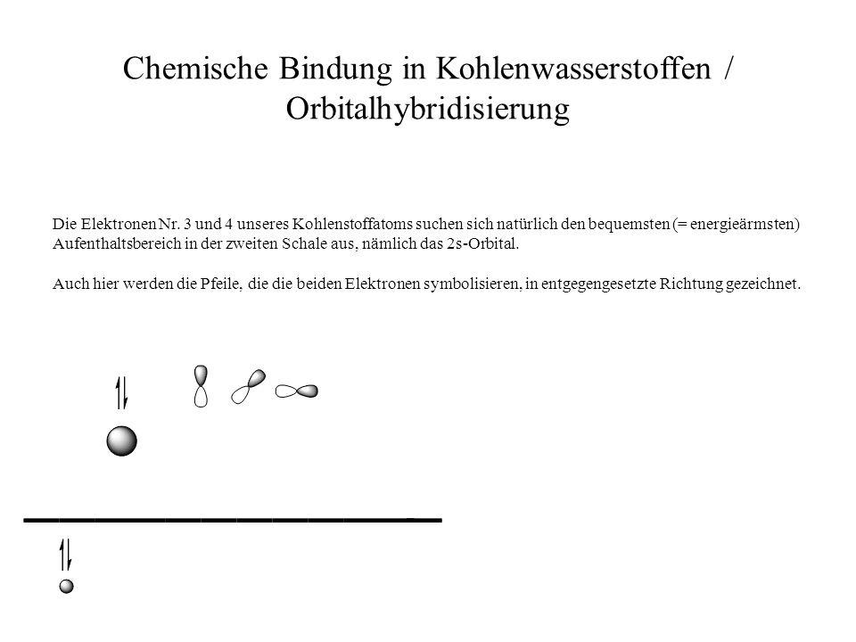 Chemische Bindung in Kohlenwasserstoffen / Orbitalhybridisierung Die Elektronen Nr. 3 und 4 unseres Kohlenstoffatoms suchen sich natürlich den bequems