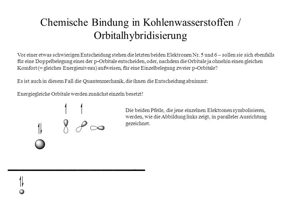 Chemische Bindung in Kohlenwasserstoffen / Orbitalhybridisierung Vor einer etwas schwierigen Entscheidung stehen die letzten beiden Elektronen Nr. 5 u