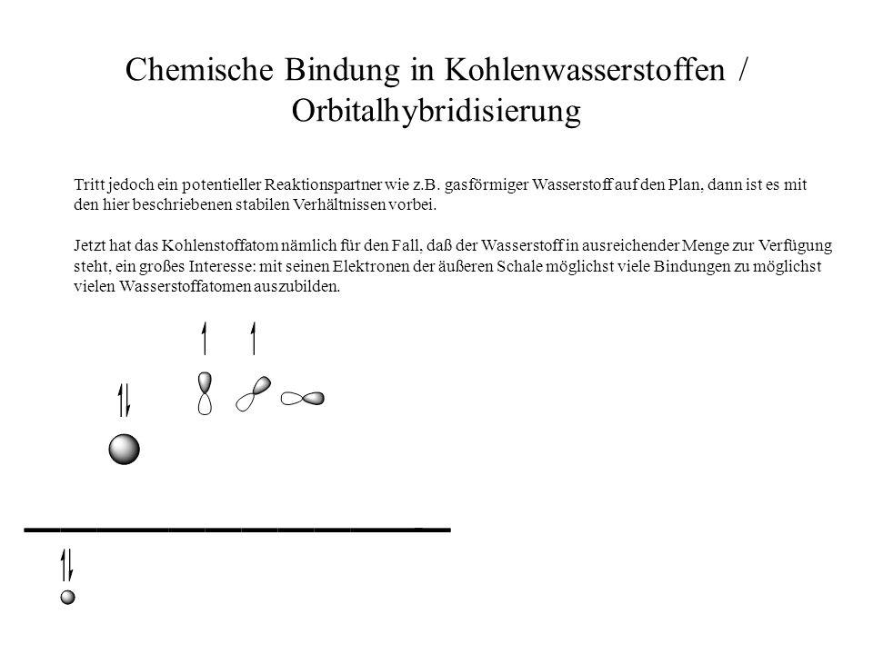 Chemische Bindung in Kohlenwasserstoffen / Orbitalhybridisierung Tritt jedoch ein potentieller Reaktionspartner wie z.B. gasförmiger Wasserstoff auf d
