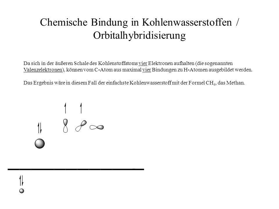 Chemische Bindung in Kohlenwasserstoffen / Orbitalhybridisierung Da sich in der äußeren Schale des Kohlenstoffatoms vier Elektronen aufhalten (die sog