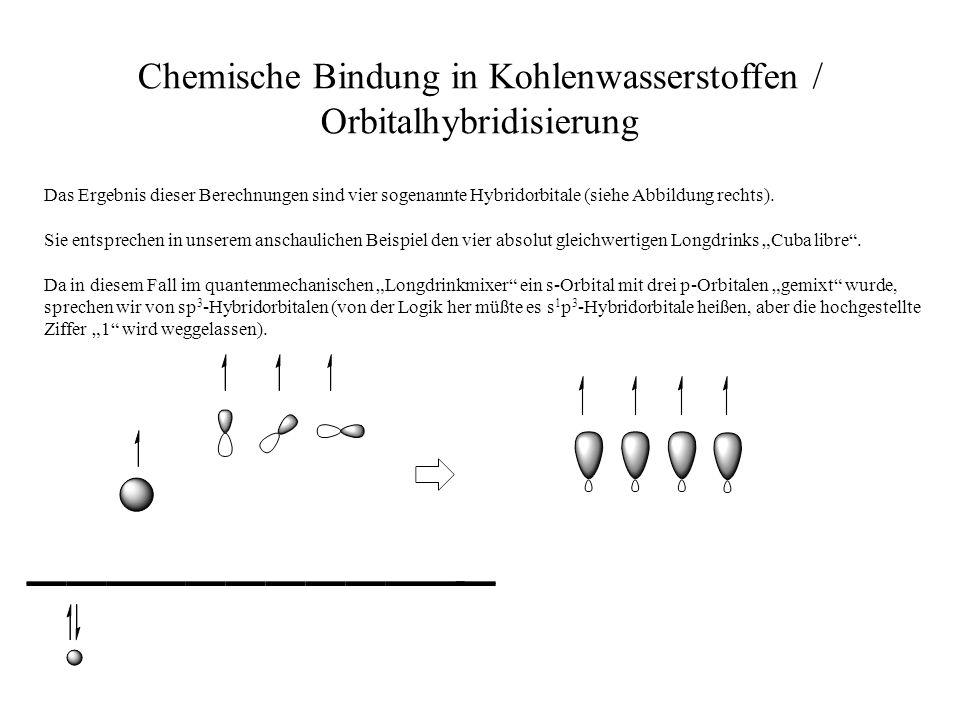 Chemische Bindung in Kohlenwasserstoffen / Orbitalhybridisierung Das Ergebnis dieser Berechnungen sind vier sogenannte Hybridorbitale (siehe Abbildung