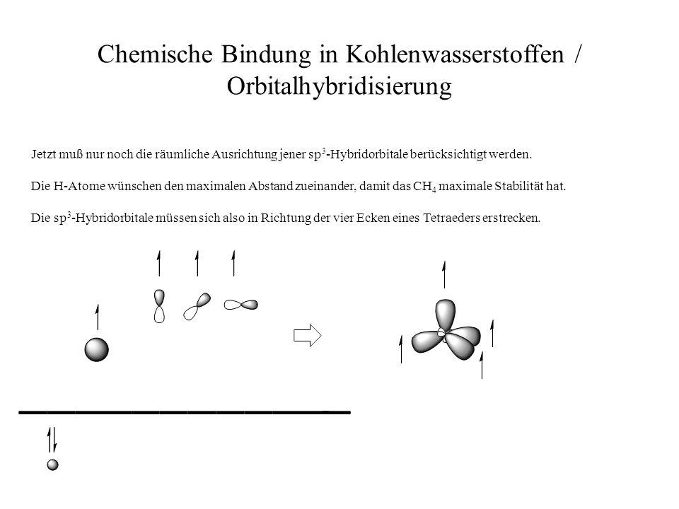 Chemische Bindung in Kohlenwasserstoffen / Orbitalhybridisierung Jetzt muß nur noch die räumliche Ausrichtung jener sp 3 -Hybridorbitale berücksichtig