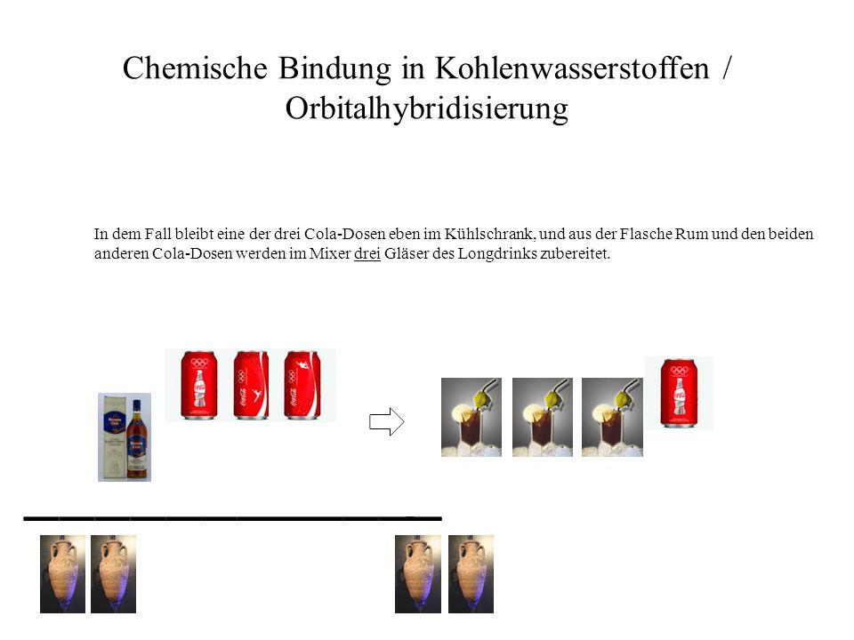 Chemische Bindung in Kohlenwasserstoffen / Orbitalhybridisierung In dem Fall bleibt eine der drei Cola-Dosen eben im Kühlschrank, und aus der Flasche