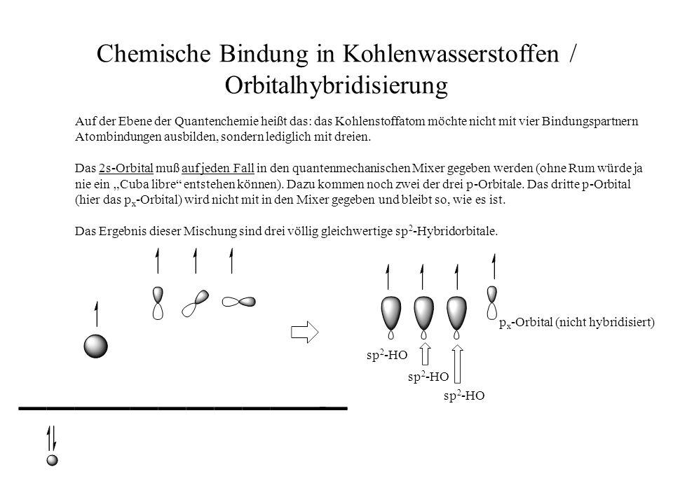 Chemische Bindung in Kohlenwasserstoffen / Orbitalhybridisierung Auf der Ebene der Quantenchemie heißt das: das Kohlenstoffatom möchte nicht mit vier