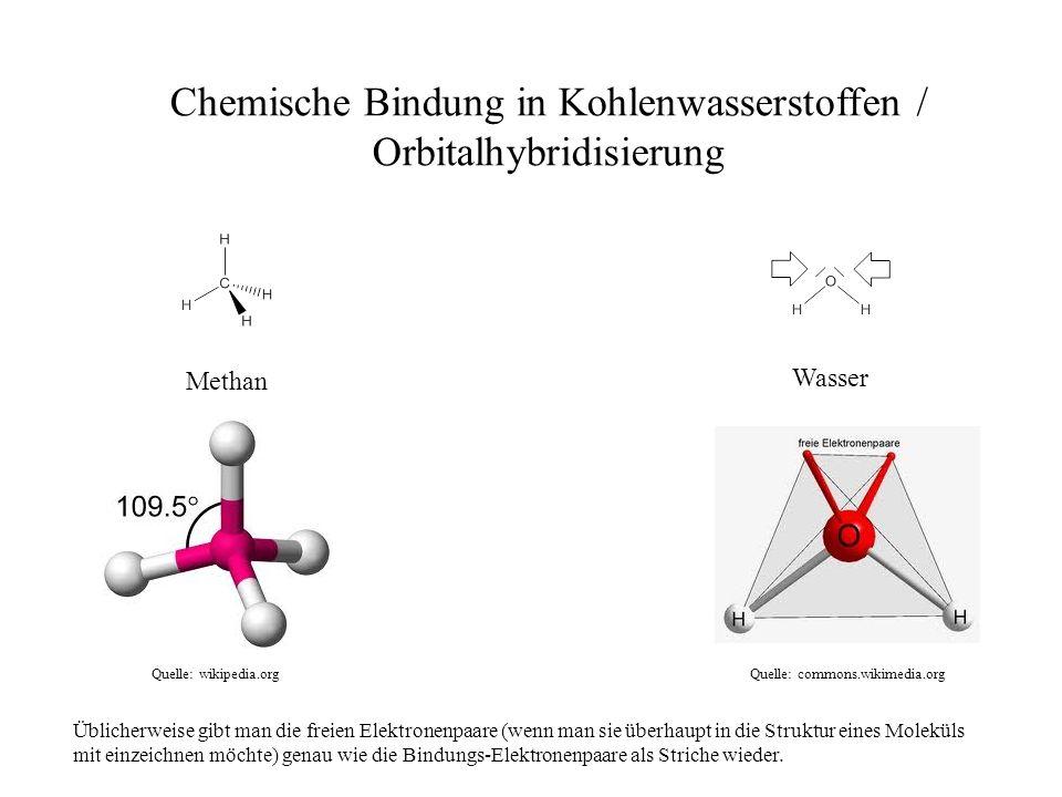 Methan Quelle: wikipedia.org Quelle: commons.wikimedia.org Wasser Chemische Bindung in Kohlenwasserstoffen / Orbitalhybridisierung Üblicherweise gibt