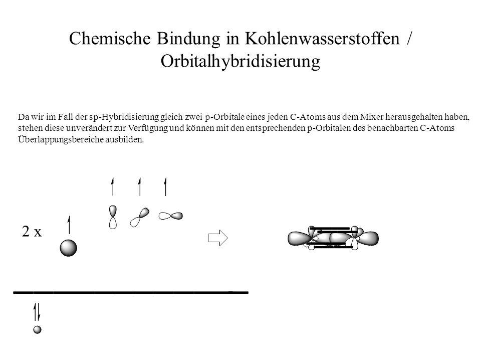 Chemische Bindung in Kohlenwasserstoffen / Orbitalhybridisierung Da wir im Fall der sp-Hybridisierung gleich zwei p-Orbitale eines jeden C-Atoms aus d