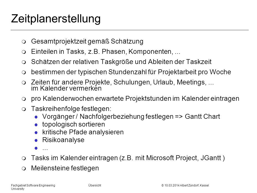 Fachgebiet Software Engineering Übersicht © 10.03.2014 Albert Zündorf, Kassel University Zeitplanerstellung m Gesamtprojektzeit gemäß Schätzung m Eint