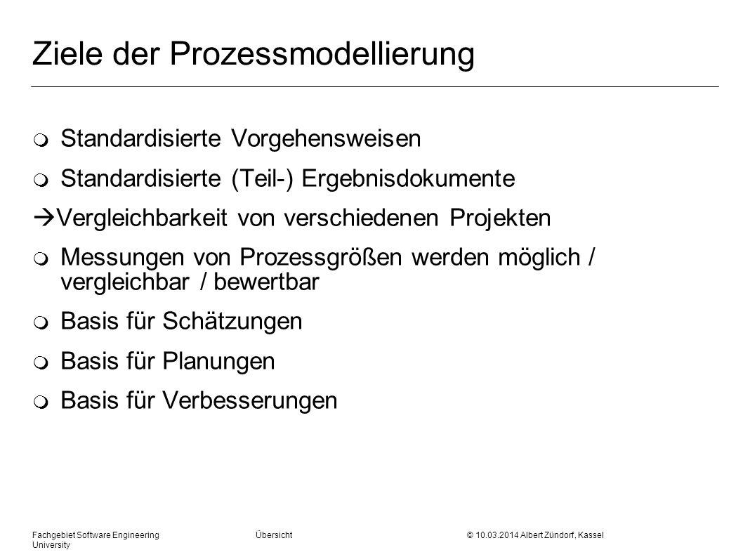 Fachgebiet Software Engineering Übersicht © 10.03.2014 Albert Zündorf, Kassel University Ziele der Prozessmodellierung m Standardisierte Vorgehensweis