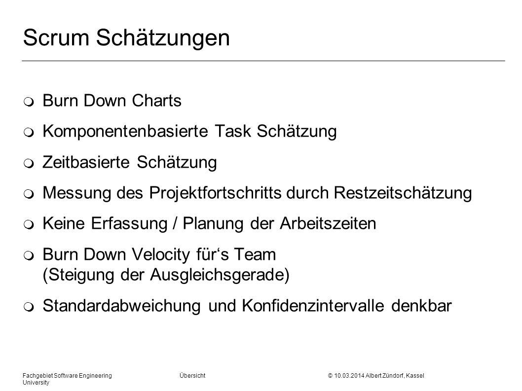 Scrum Schätzungen m Burn Down Charts m Komponentenbasierte Task Schätzung m Zeitbasierte Schätzung m Messung des Projektfortschritts durch Restzeitsch