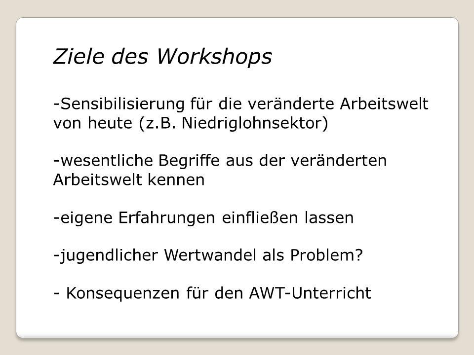 Ziele des Workshops -Sensibilisierung für die veränderte Arbeitswelt von heute (z.B. Niedriglohnsektor) -wesentliche Begriffe aus der veränderten Arbe