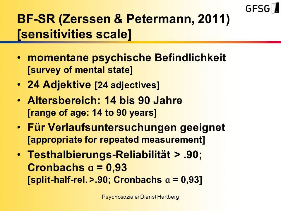 momentane psychische Befindlichkeit [survey of mental state] 24 Adjektive [24 adjectives] Altersbereich: 14 bis 90 Jahre [range of age: 14 to 90 years