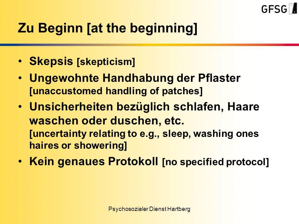 Skepsis [skepticism] Ungewohnte Handhabung der Pflaster [unaccustomed handling of patches] Unsicherheiten bezüglich schlafen, Haare waschen oder duschen, etc.