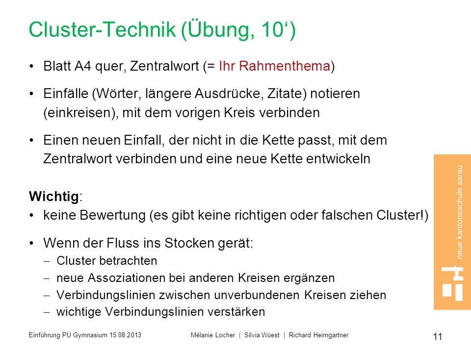 Cluster-Technik (Übung, 10) Blatt A4 quer, Zentralwort (= Ihr Rahmenthema) Einfälle (Wörter, längere Ausdrücke, Zitate) notieren (einkreisen), mit dem