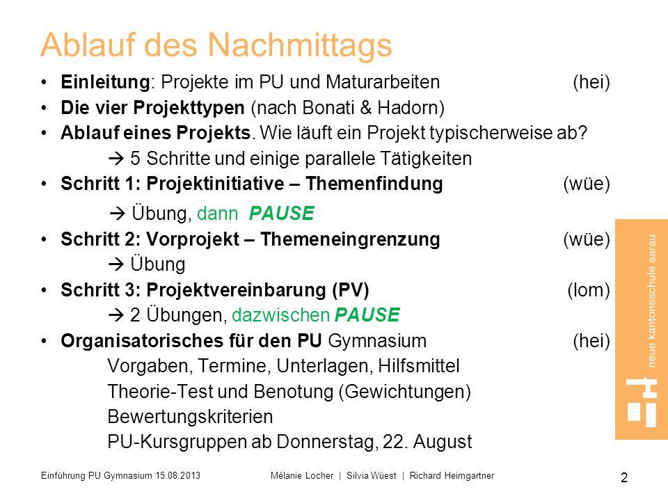 Schritt 2: Vorprojekt/Themeneingrenzung Anpassung der Planung Zwischengespräche Standortgespräche Kontakte mit Externen Projektinitiative Vorprojekt Projektvereinbarung Projektdurchführung Ergebnis Präsentation Bewertung 2 13 Einführung PU Gymnasium 15.08.2013 Mélanie Locher   Silvia Wüest   Richard Heimgartner