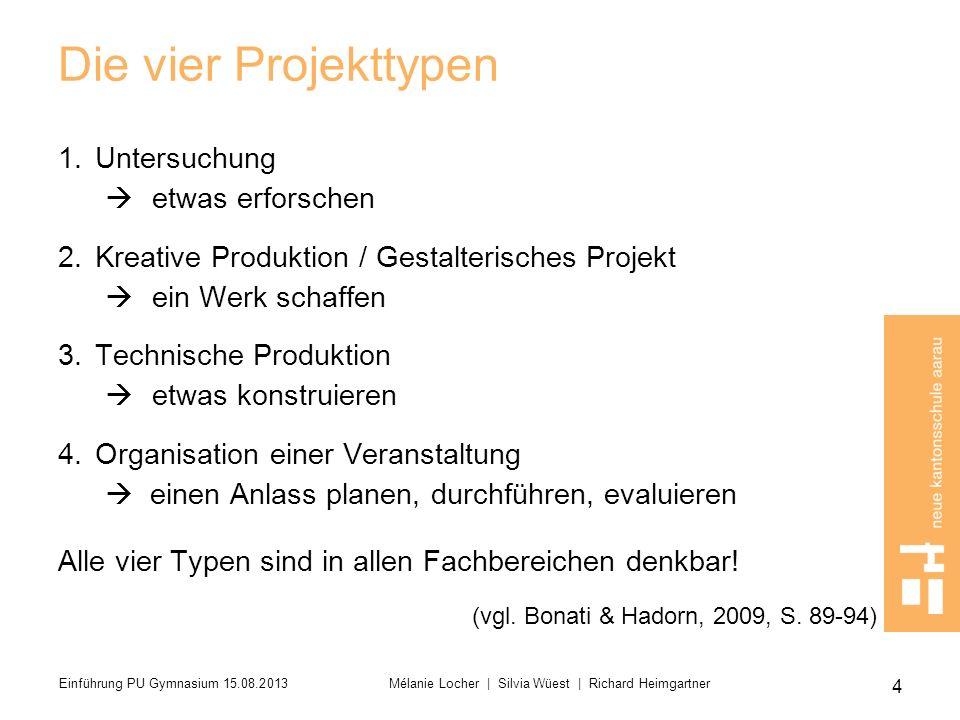Die vier Projekttypen 1.Untersuchung etwas erforschen 2.Kreative Produktion / Gestalterisches Projekt ein Werk schaffen 3.Technische Produktion etwas