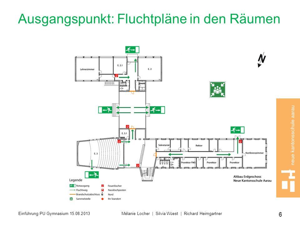 Ausgangspunkt: Fluchtpläne in den Räumen 6 Einführung PU Gymnasium 15.08.2013 Mélanie Locher | Silvia Wüest | Richard Heimgartner