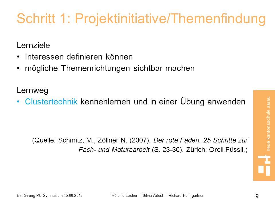 20 Einführung PU Gymnasium 15.08.2013 Mélanie Locher   Silvia Wüest   Richard Heimgartner
