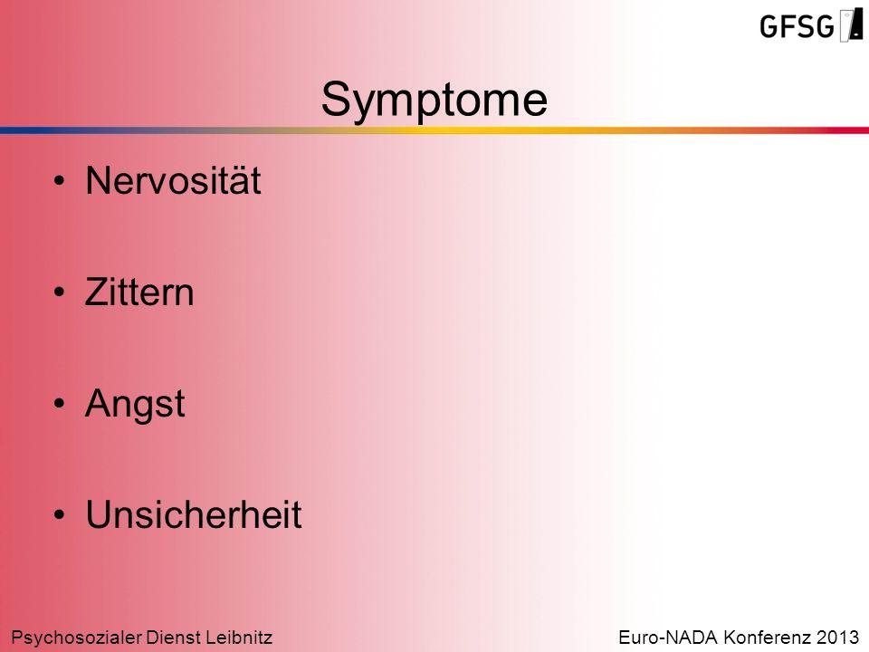 Psychosozialer Dienst LeibnitzEuro-NADA Konferenz 2013 Nervosität Zittern Angst Unsicherheit Symptome