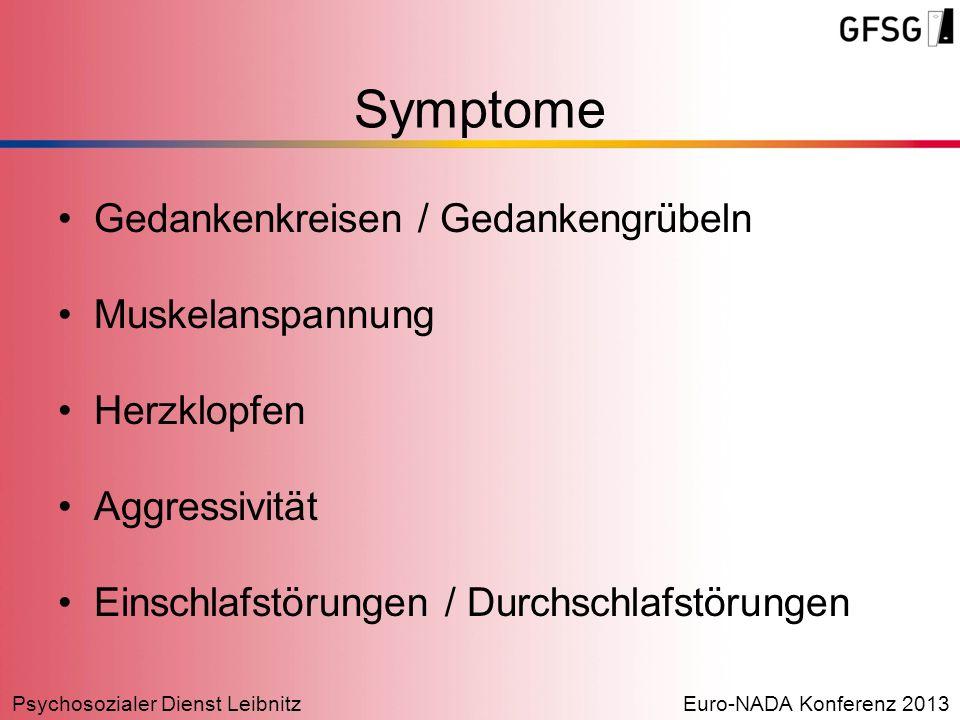 Psychosozialer Dienst LeibnitzEuro-NADA Konferenz 2013 Gedankenkreisen / Gedankengrübeln Muskelanspannung Herzklopfen Aggressivität Einschlafstörungen