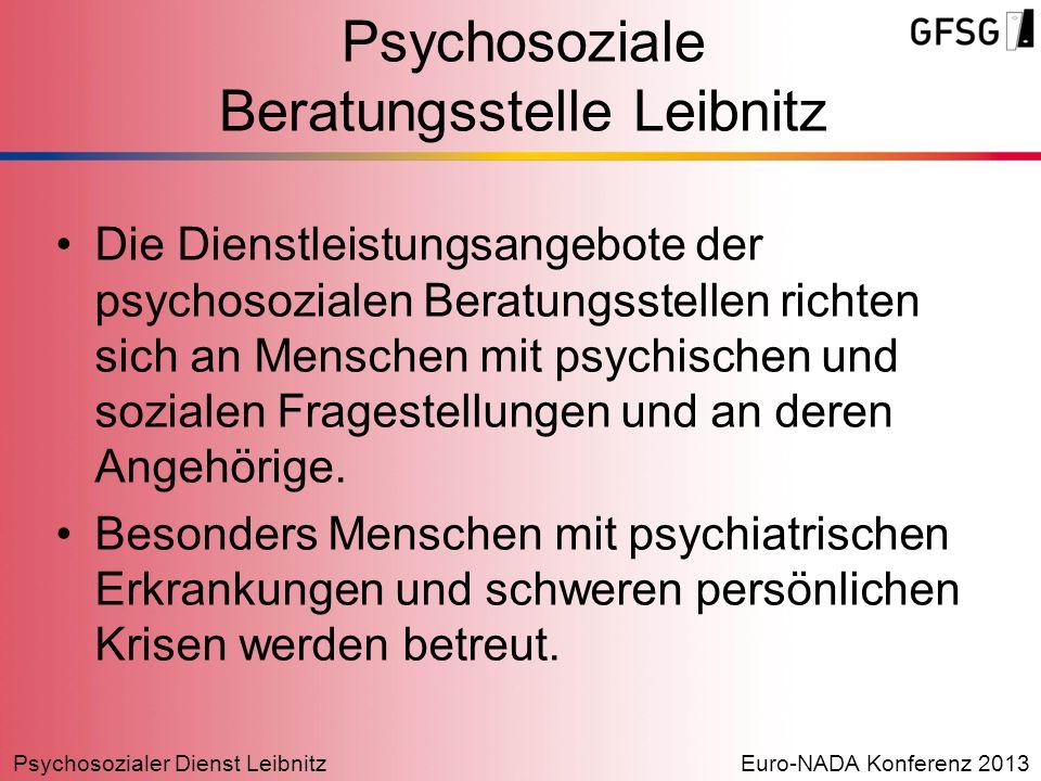 Psychosozialer Dienst LeibnitzEuro-NADA Konferenz 2013 Psychosoziale Beratungsstelle Leibnitz Die Dienstleistungsangebote der psychosozialen Beratungs