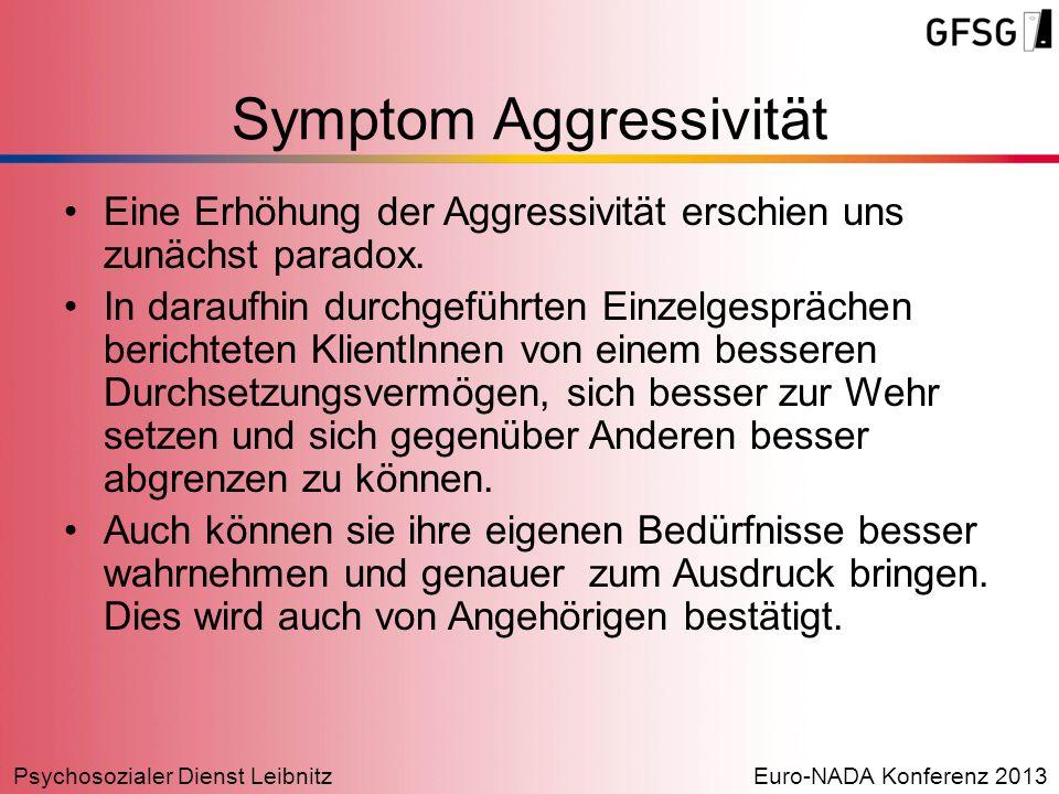 Psychosozialer Dienst LeibnitzEuro-NADA Konferenz 2013 Symptom Aggressivität Eine Erhöhung der Aggressivität erschien uns zunächst paradox. In daraufh