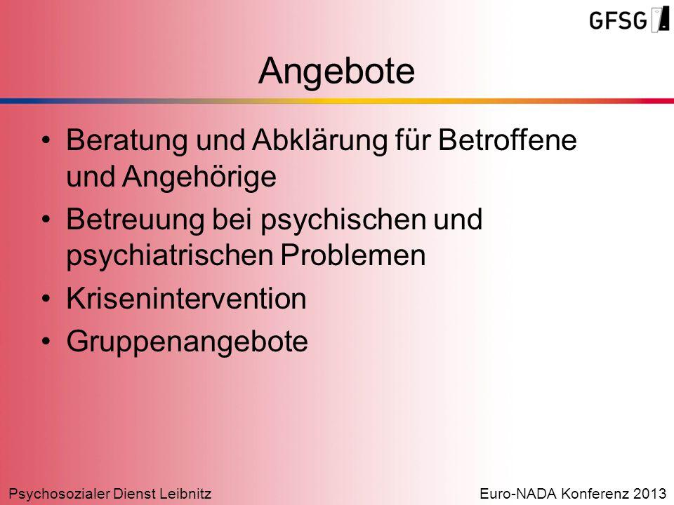 Psychosozialer Dienst LeibnitzEuro-NADA Konferenz 2013 Angebote Beratung und Abklärung für Betroffene und Angehörige Betreuung bei psychischen und psy