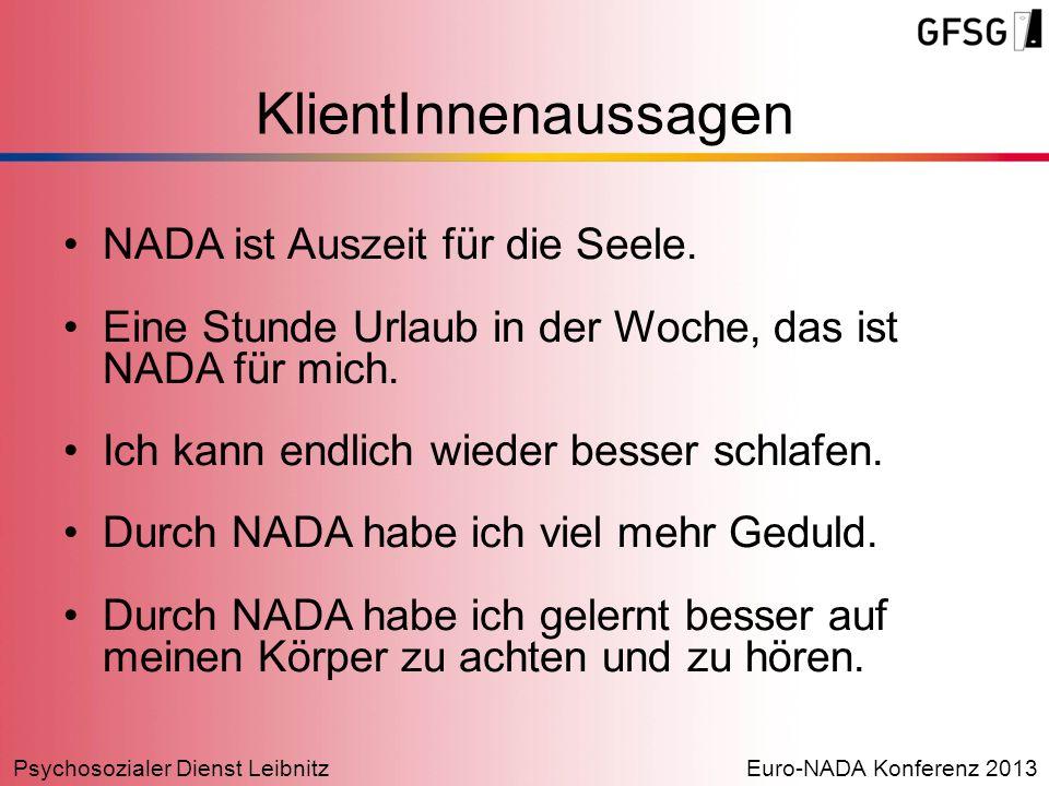 Psychosozialer Dienst LeibnitzEuro-NADA Konferenz 2013 KlientInnenaussagen NADA ist Auszeit für die Seele. Eine Stunde Urlaub in der Woche, das ist NA