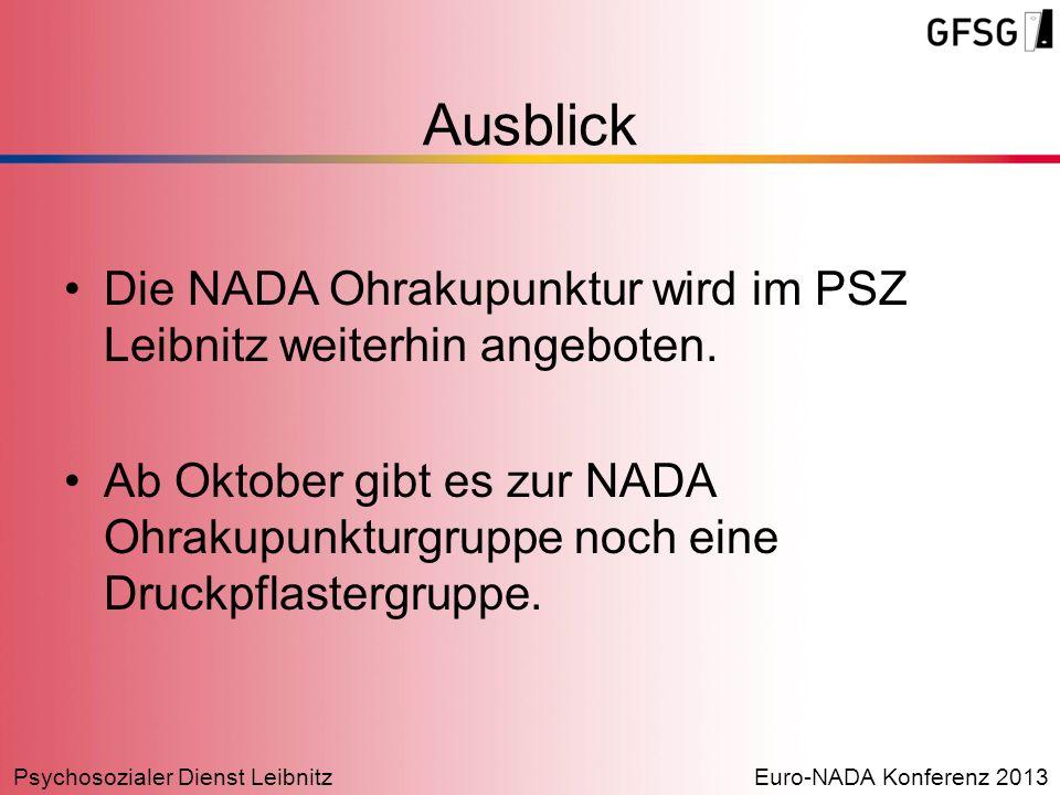Psychosozialer Dienst LeibnitzEuro-NADA Konferenz 2013 Ausblick Die NADA Ohrakupunktur wird im PSZ Leibnitz weiterhin angeboten. Ab Oktober gibt es zu
