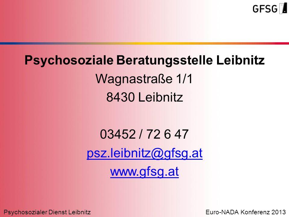 Psychosozialer Dienst LeibnitzEuro-NADA Konferenz 2013 Psychosoziale Beratungsstelle Leibnitz Wagnastraße 1/1 8430 Leibnitz 03452 / 72 6 47 psz.leibni