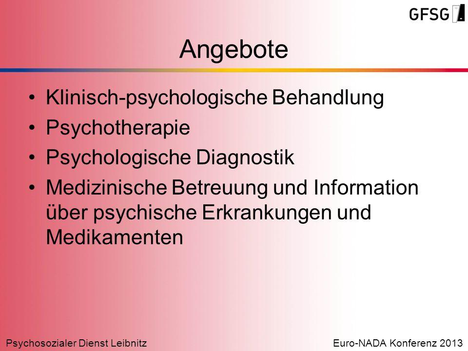 Psychosozialer Dienst LeibnitzEuro-NADA Konferenz 2013 Klinisch-psychologische Behandlung Psychotherapie Psychologische Diagnostik Medizinische Betreu