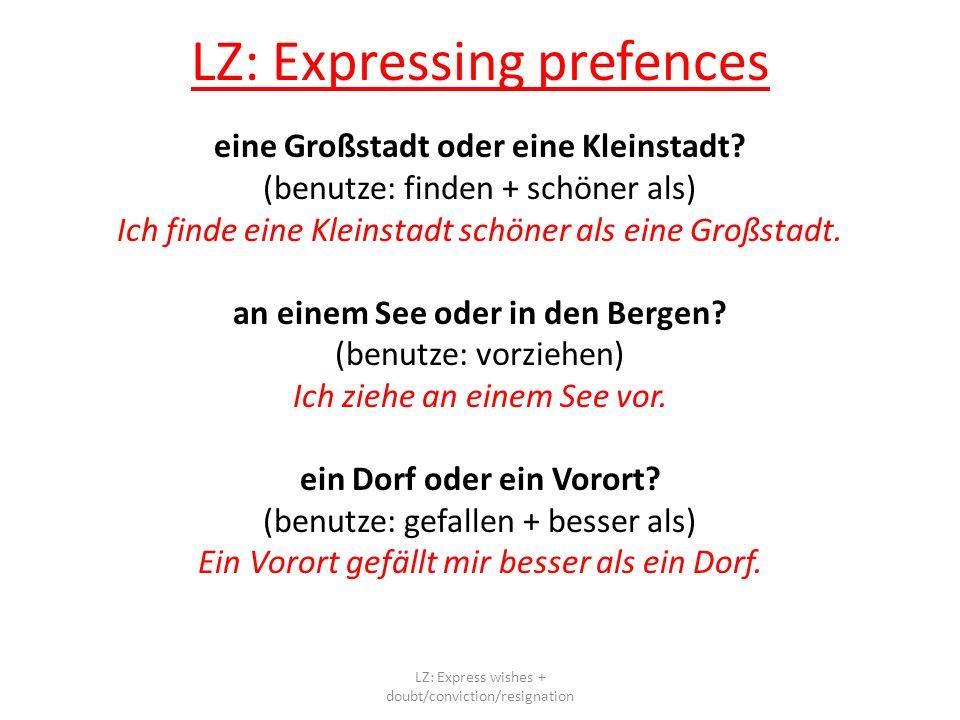 LZ: Expressing prefences eine Großstadt oder eine Kleinstadt.