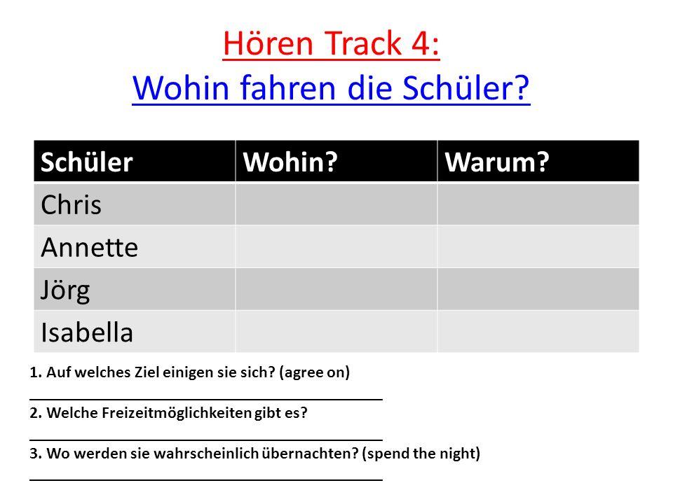 Hören Track 4: Wohin fahren die Schüler. Wohin fahren die Schüler.