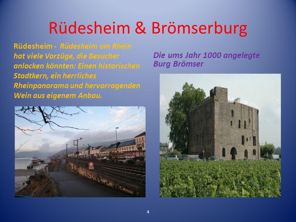 Rüdesheim & Brömserburg Rüdesheim - Rüdesheim am Rhein hat viele Vorzüge, die Besucher anlocken könnten: Einen historischen Stadtkern, ein herrliches Rheinpanorama und hervorragenden Wein aus eigenem Anbau.