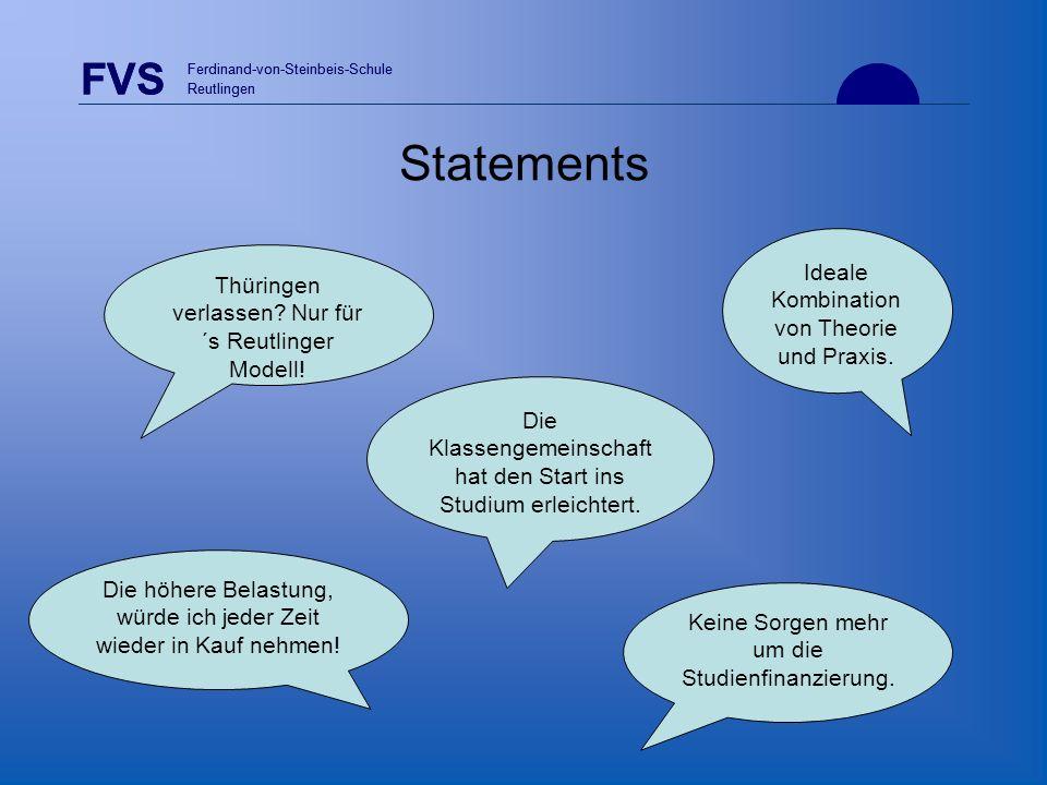 FVS Ferdinand-von-Steinbeis-Schule Reutlingen FVS Ferdinand-von-Steinbeis-Schule Reutlingen Statements Die höhere Belastung, würde ich jeder Zeit wied
