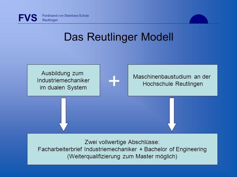 FVS Ferdinand-von-Steinbeis-Schule Reutlingen Das Reutlinger Modell Zwei vollwertige Abschlüsse: Facharbeiterbrief Industriemechaniker + Bachelor of E