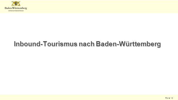 Folie 10 Inbound-Tourismus nach Baden-Württemberg