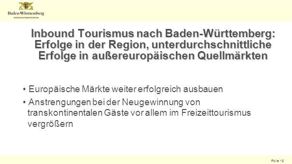 Folie 18 Inbound Tourismus nach Baden-Württemberg: Erfolge in der Region, unterdurchschnittliche Erfolge in außereuropäischen Quellmärkten Europäische Märkte weiter erfolgreich ausbauen Anstrengungen bei der Neugewinnung von transkontinentalen Gäste vor allem im Freizeittourismus vergrößern