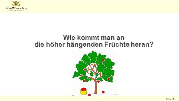 Folie 19 Wie kommt man an die höher hängenden Früchte heran?