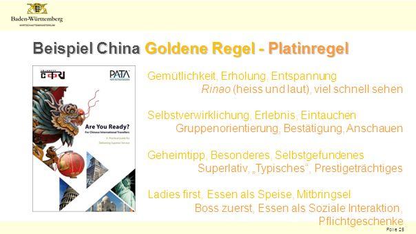 Folie 25 Beispiel China Goldene Regel - Platinregel Gemütlichkeit, Erholung, Entspannung Rinao (heiss und laut), viel schnell sehen Selbstverwirklichu
