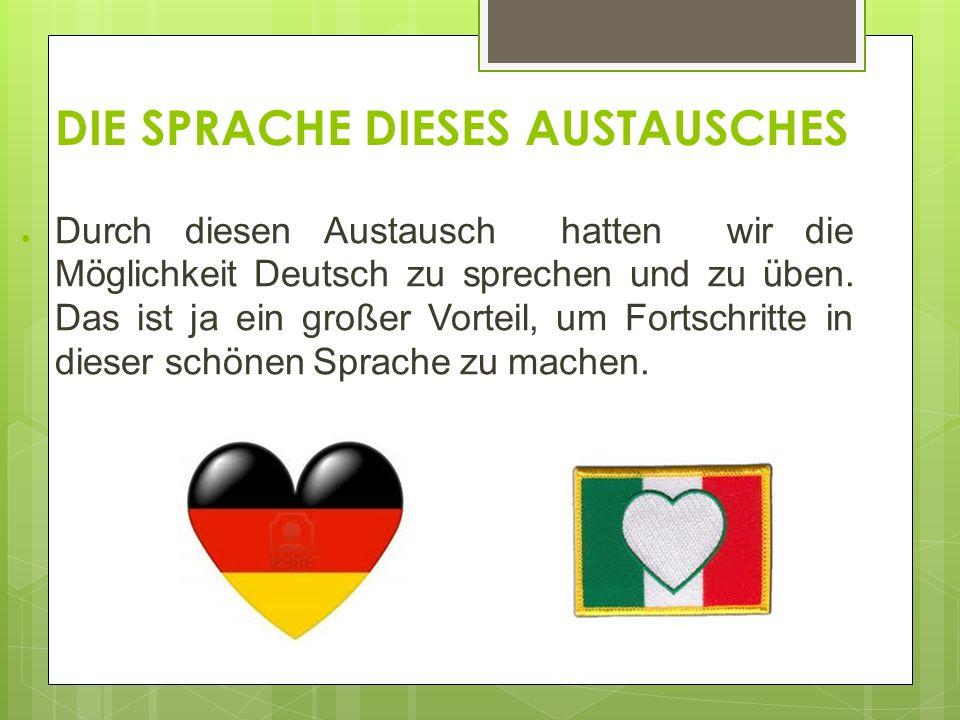 DIE SPRACHE DIESES AUSTAUSCHES Durch diesen Austausch hatten wir die Möglichkeit Deutsch zu sprechen und zu üben.