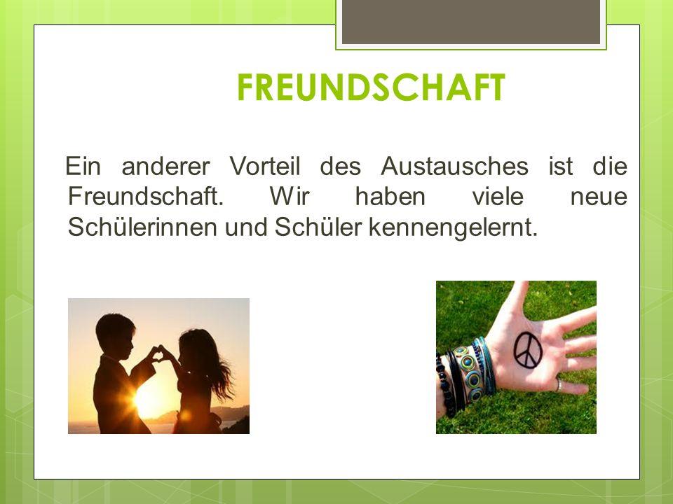 FREUNDSCHAFT Ein anderer Vorteil des Austausches ist die Freundschaft.