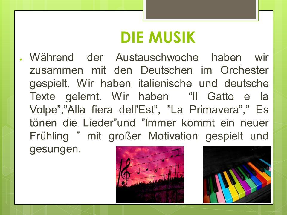 DIE MUSIK Während der Austauschwoche haben wir zusammen mit den Deutschen im Orchester gespielt.