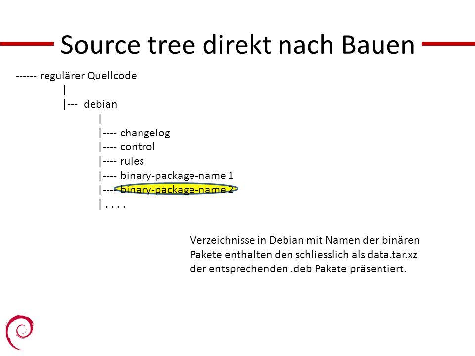 Source tree direkt nach Bauen ------ regulärer Quellcode | |--- debian | |---- changelog |---- control |---- rules |---- binary-package-name 1 |---- binary-package-name 2 |....