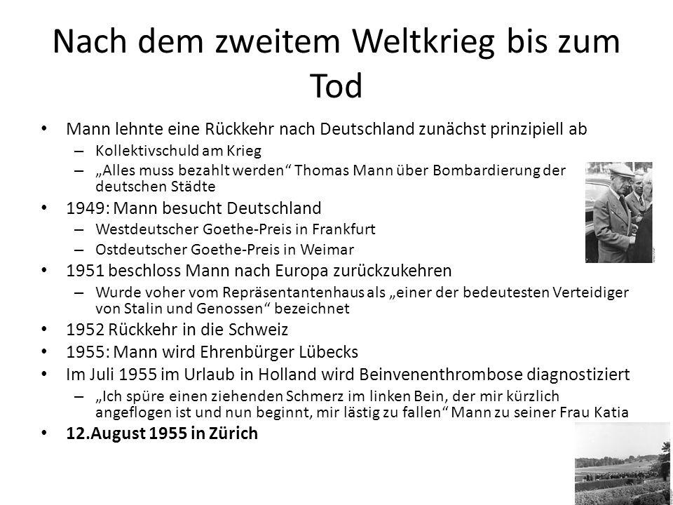 WERKE Jeder Jugendliche sollte Buddenbrooks gelesen haben. Günther Grass (1975)